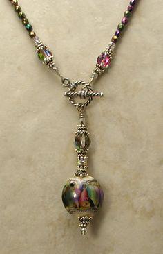 Amethyst & Malachite Front Toggle Necklace - www.sueshefts.com