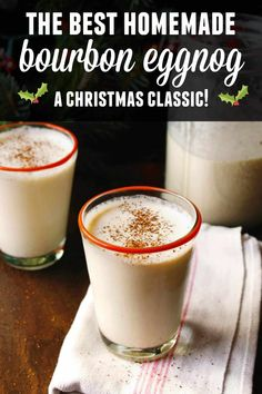 The best eggnog recipe ever! This homemade eggnog is spiked with bourbon and spiced with cinnamon and nutmeg. The most wonderful holiday cocktail! // Rhubarbarians // christmas cocktail / christmas re Eggnog Cocktail, Eggnog Drinks, Spiked Eggnog, Cocktail Recipes, Dinner Recipes, Bourbon Recipes, Eggnog Martini, Deserts, Drink