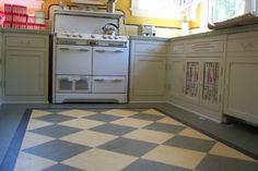 Kitchen - retro-look linoleum floor in a Santa Clara bungalow, by Slaughterbeck Floors, Inc.