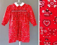 60s Girls -Little Folk Dress- 1960s Vintage  Little Girl Red White Dress - 60s Hand Smocked Dress w Folk Pattern - Girls by Polly Flinders. By CatinasVintage on Etsy