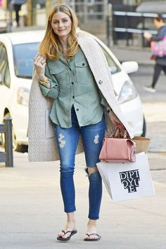 Olivia Palermo Wore Flip-Flops With Skinny Jeans (and It's Really Cute) via @WhoWhatWear - April 2017