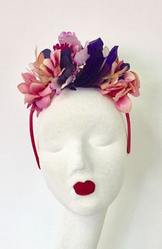 Your place to buy and sell all things handmade Purple Fascinator, Floral Fascinators, Flower Headpiece, Dusty Pink, Pink Purple, Magenta Flowers, Petal Floral, Flower Crown, Halo