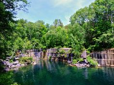 Dorset Quarry—Vermont: Opened in 1785 as America's first commercial marble quarry, this place once provided construction materials for such notable buildings as the New York Public Library. Nowadays, it's a perfect spot for cannonballs, swan dives and belly flops—almost the entire perimeter of the swimming hole serves as one big diving platform. #carbookercom #worldwide #carrentals