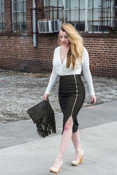 White Wrap Blouse, Olive Pencil Skirt, Nashville Fashion, Style Blogger