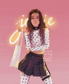 South Korean Girls, Korean Girl Groups, Blackpink Fashion, Fashion Design, Lisa, Kpop Drawings, Pink Art, Jennie Blackpink, Kpop Fanart