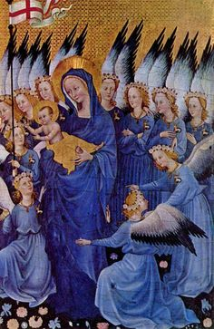 Virgin Mary with Eleven Angels (Wilton Diptych, right-wing scene) by the Master of the Wilton Diptych, ca. 1395