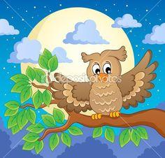 imagem de coruja tema 1 — Ilustração de Stock #22566397