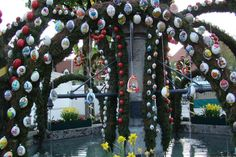 Easter Fountains: Most of the eggs are really eggshells and painted by hand. From: Maria Theresia Meyer, Ansbach,  Germany