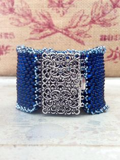 Peyote Stitch Beaded Cuff Bracelet ~ Denim Blue Country Cuff ~ Vintagy Silver Clasp Seed Bead Beauty~ Peyote Chic by Country Chic Charms