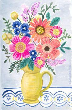 Flowers In Vase Painting, Abstract Flowers, Flower Paintings, Watercolor Pencil Art, Disney Princess Pictures, Ancient Symbols, Flower Vases, Flower Arrangements, Floral Bouquets