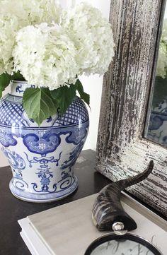 Blue and white chinoiserie ginger jar holding hydrangeas - beautiful!