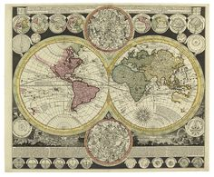 Full Details for Lot 104 / SCHENK, PETER; and ZURNER, ADAM FRIEDRICH. Planisphaerium Terrestre cum utroque Coelesti Hemisphaerio, sive Diversa Orbis Terraquei. Double-page engraved map of the world, with numerous inset celestial and world maps. 520x605 mm, ample margins; original hand-color. A fine example. [Amsterdam, circa 1700] Estimate $2,000 - 3,000