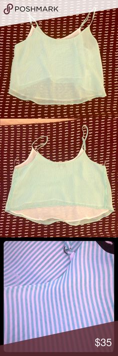 Stripped crop top Stripped cropped top! Green/teal color. looks great with white pants and skirts! Arden B Tops Crop Tops