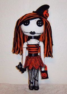 Gothic rag Doll and Purse Halloween.