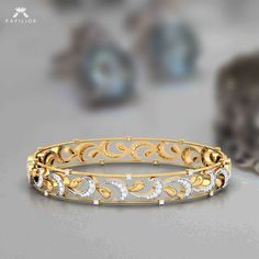 Buy Belle De Jour Diamond Bangle from our 2019 collection of Yellow Gold, different designs. South Indian Diamond Bangles are smooth, styles to suit individual tastes and demands. Diamond Bracelets, Silver Bracelets, Diamond Jewelry, Gold Jewelry, Silver Ring, Diamond Brooch, Gold Bangles Design, Gold Jewellery Design, Designer Bangles