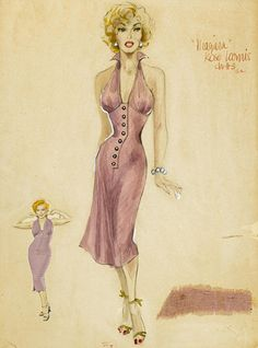 Marilyn Monroe as Rose Loomis - costume design sketches. Artist Unknown (possibly William Travilla). Media: watercolor. || This image first pinned to Marilyn Monroe Art board, here: http://pinterest.com/fairbanksgrafix/marilyn-monroe-art/ || #Art  #MarilynMonroe