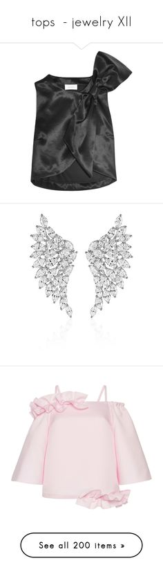 """""""tops  - jewelry XII"""" by saltless ❤ liked on Polyvore featuring tops, black, relaxed fit tops, bow top, wool tops, jewelry, earrings, silver, earring jewelry and wing jewelry"""