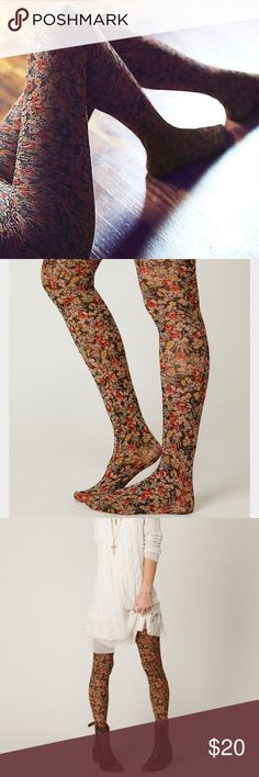 Free People Lalique Floral Tight New condition. Beautiful quality floral tights. You won't have to worry about these ripping. Free People Accessories Hosiery & Socks