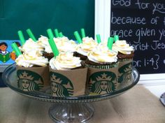 Cute cupcake idea...Coffee Break for Room Moms party...end of year