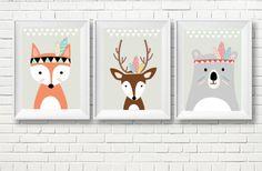 Drei Poster für das Kinderzimmer.  Poster auf hochwertigem Satin-Papier gedruckt. Preis für 3 Poster-Format A4 (21 x 30 cm), ohne Rahmen.