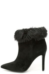 """If glamorous textures are what you desire, consider the Jessica Simpson Carine2 Black Faux Fur High Heel Booties the answer to all your wishes! Genuine suede is wonderfully soft over a sassy pointed-toe upper, that greets a band of matching faux fur around the 13"""""""" collar. 4"""""""" wrapped stiletto heel. Cushioned insole. Rubber sole has nonskid markings. Available in whole and half sizes. Measurements are for a size 6. Genuine suede leather upper. Faux fur collar. Balance man made. #CuteDresses…"""