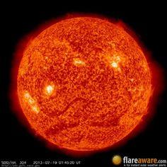 The hourly sun (at 01:45 am  UTC on 19 February 2013)