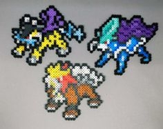 Browse unique items from Pixelixir on Etsy, a global marketplace of handmade, vintage and creative goods. Pokemon Perler Beads, Pyssla Pokemon, Pearler Beads, Fuse Beads, All Pokemon Sprites, Art Pokemon, Entei Pokemon, Pixel Art, Pokemon Cross Stitch