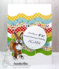 YNS Supplies:  So Sorry Donkey   Little Peek A Boo Doors   Large Slider/Spinner Die