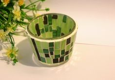 Mosaic candle holder Greenery decor Mosaic planter Mosaic pencil holder Night light Glass Garden decor Office accessories by Psifida on Etsy