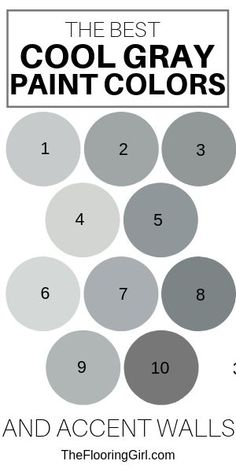 The best cool gray paint colors The best cool gray paint colors and easy to match accent walls. The best cool gray paint colors The best cool gray paint colors and easy to match accent walls. Top Paint Colors, Best Gray Paint Color, Dining Room Paint Colors, Kitchen Paint Colors, Paint Colors For Home, Neutral Paint, Grey Wall Color, Most Popular Paint Colors, Favorite Paint Colors