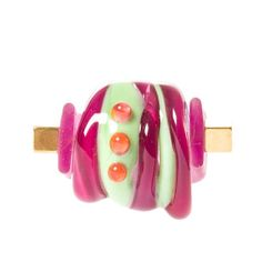 Lampwork Glass Interchangeable Ring w rubber band por ChamaShop, €29.00