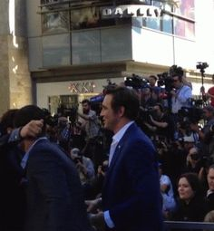 "Lee is saying: ""What about me?""  #LeePace and #RichardArmitage with Orlando Bloom at the Hollywood Walk of Fame ceremony for Peter Jackson, Dec. 8, 2014."