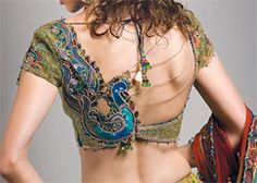 fr in love with this ethnic look - peacock saree blouse, saree blouse designs Sari Blouse Designs, Saree Blouse Patterns, Blouse Styles, Indian Attire, Indian Wear, Tribal Fashion, Asian Fashion, Kitenge, Indian Dresses