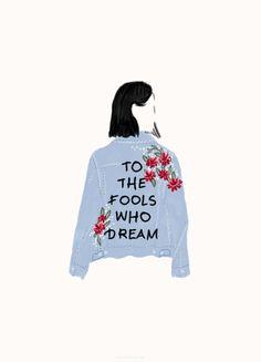 illustration, denim jacket, handwritten
