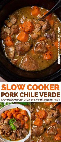 Mexican Pork Stew, Pork Stew Meat, Stew Meat Recipes, Crockpot Recipes, Cooker Recipes, Mexican Pork Recipes, Pork Soup, Vegan Recipes, Crock Pot Slow Cooker