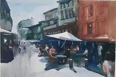 "CAFE SCENE Watercolor on Paper 19"" x 27"" 2015"