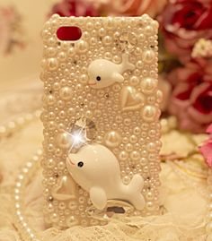 Charms handmade Blingbling Rhinestones Pearls Lovely Dolphins Style Phone Case for  iphone 4/4s iphone 5 on Etsy, $19.28