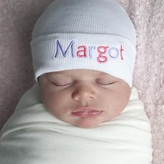 Double Colored Letters White Personalized Newborn GIRL Hospital Hat - PINK and Purple Letters #Melondipity