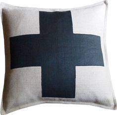 Belgian Linen Swiss Cross  I made two of these throws out of a plain linen pillow and fabric paint. Simple.