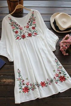 Free Spirit Floral Embroidery Dress