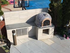 Wood Fired Pizza Oven with Mosaic Tiles & Cast Iron Door + Special!