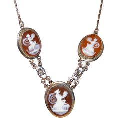 """Antique Edwardian Necklace of 3 Mythical Muses, Nymohs?, on Three Carved Shell Cameos, White GF.  See me at the """"Vintage Jewelry Stars"""" shop at http://www.rubylane.com/shop/vintagejewelrystars!!"""