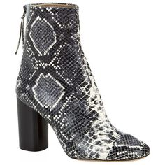 Isabel Marant Grover Snake-Effect Ankle Boot ($920) ❤ liked on Polyvore featuring shoes, boots, ankle booties, block-heel ankle boots, leather ankle boots, short leather boots, block heel booties and leather boots