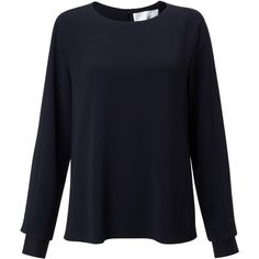 BOSS Round Neck Blouse, Navy (7.370 CZK) ❤ liked on Polyvore featuring tops, blouses, loose fitting tops, blue top, loose long sleeve tops, blue blouse and long sleeve tops