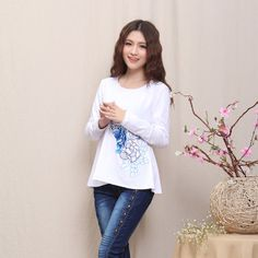 Pretty Embroidery Oriental Style Blouse - White - Chinese Shirts & Blouses - Women
