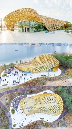 The Butterfly Pavilion features a golden roof made up of 4,000 aluminum leaves | architecture | contemporary architecture | patterns in architecture