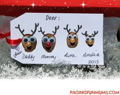 Thumbprint Reindeer Gift Cards. A meaningful keepsake.