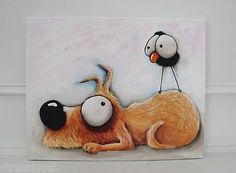 Original acrylic canvas painting whimsical modern art animal sleep dog bird crow