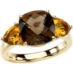 Cushion Smokey Quartz Ring w. Citrine Accents in Yellow Gold Smoky Quartz Ring, Smoky Topaz, Scott Kay Jewelry, Right Hand Rings, Citrine Ring, Yellow Gold Rings, Gemstone Jewelry, Jewelry Box, Gemstones