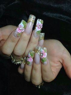 Rhinestone Nails, Bling Nails, 3d Nails, Fancy Nails, Cute Nails, Pretty Nails, Fabulous Nails, Gorgeous Nails, 3d Flower Nails